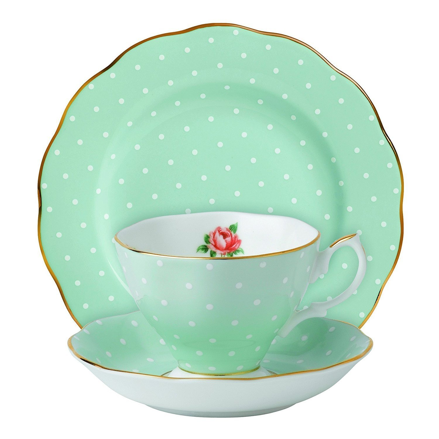 Royal Albert New Country Roses Polka Rose Teacup, Saucer And Plate, Set of 2 Each