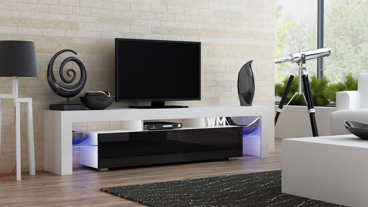 TV Stand MILANO 200 / Modern LED TV Cabinet / Living Room Furniture / Tv Cabinet fit for up to 90-inch TV screens / High Capacity Tv Console for Modern Living Room (White & Black)