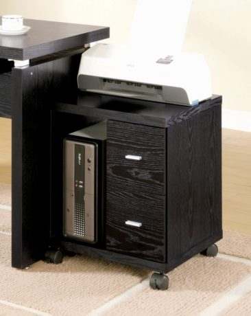 Coaster Peel 2 Drawer Computer Cabinet Stand in Black
