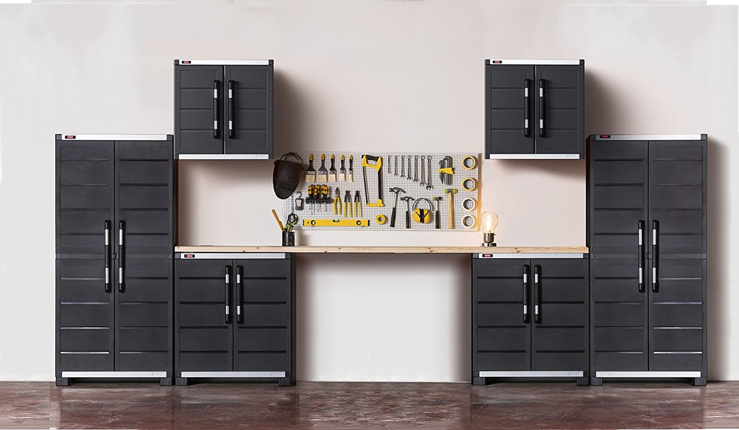 Keter Ready To Assemble XL Pro Garage System Utility Tool Storage Cabinets (Set of 6), Black
