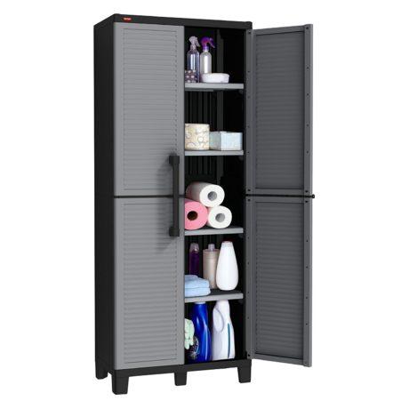 Keter Space Winner Tall Metro Storage Utility Garage Cabinet Indoor / Outdoor Garage or Home Storage with Adjustable Shelves