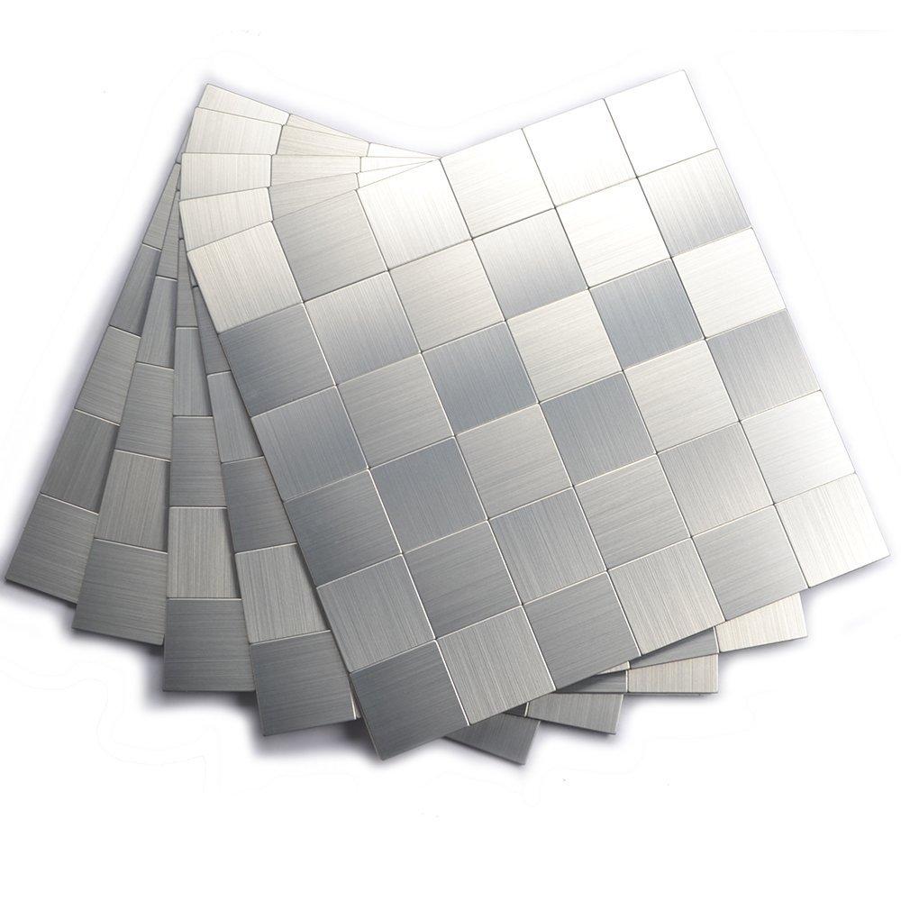 Peel and Stick Mosaics, Kitchen Tiles for Backsplash(12x12 Inch, Brushed Aluminum)
