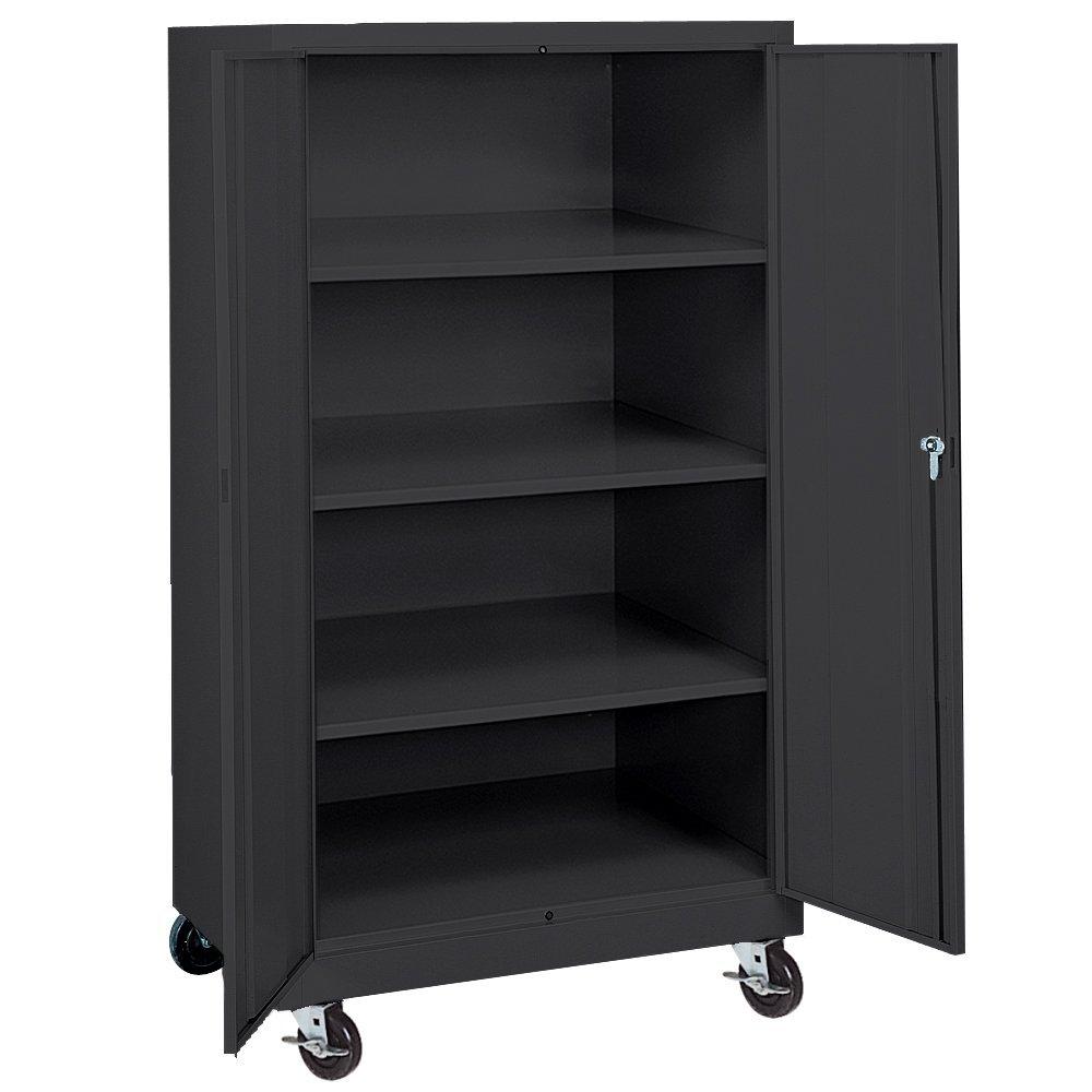 "Sandusky Lee TA3R362460-09 Black Steel Transport Mobile Storage Cabinet, 3 Adjustable Shelves, 66"" Height x 36"" Width x 24"" Depth"