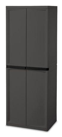 Sterilite 01423V01 4 Shelf Cabinet, Flat Gray Grage Cabinet w/ Black Handles, 1-Pack