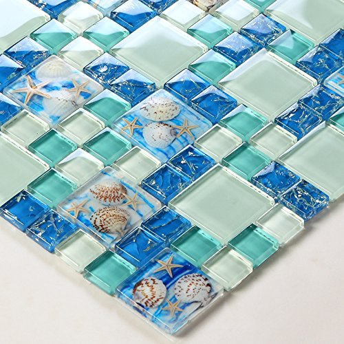 TST Mosaic Tiles Glass Conch Tiles Beach Style Sea Blue Glass Tile Glass Mosaics Wall Art Kitchen Backsplash Bathroom Design (5 PCS [12'' X 12''/each])