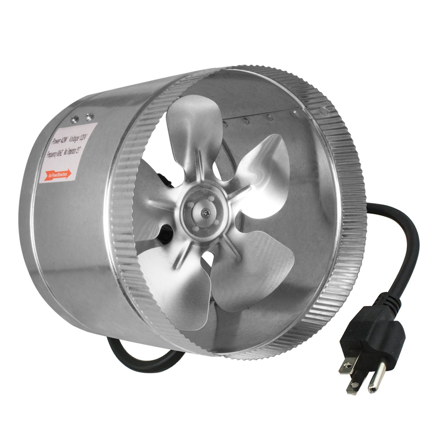 iPower 8 Inch 420 CFM Inline Duct Booster Fan Extractor Fan Dryer Vent, 5.5' Grounded Power Cord