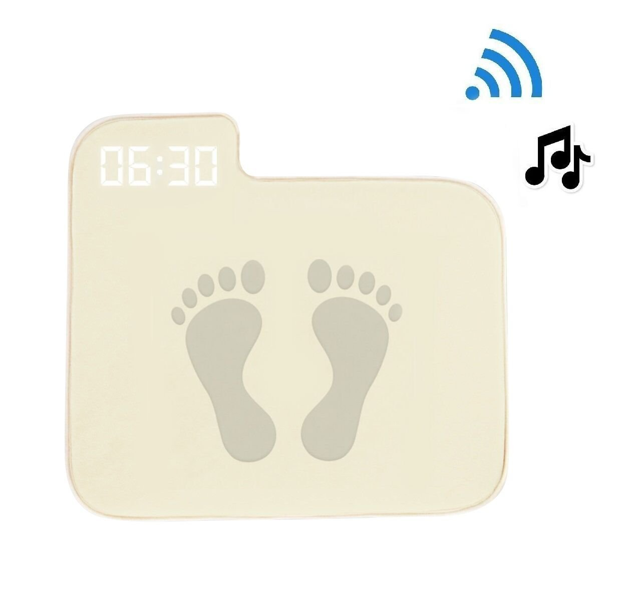 Alarm Clock for Heavy Sleepers,Instecho Rug Carpet Alarm Clock - Digital Display,Pressure Sensitive Alarm Clock with The Softest Touch for Modern Home, Kids, Teens, Girls and Guys(Creamy-White)