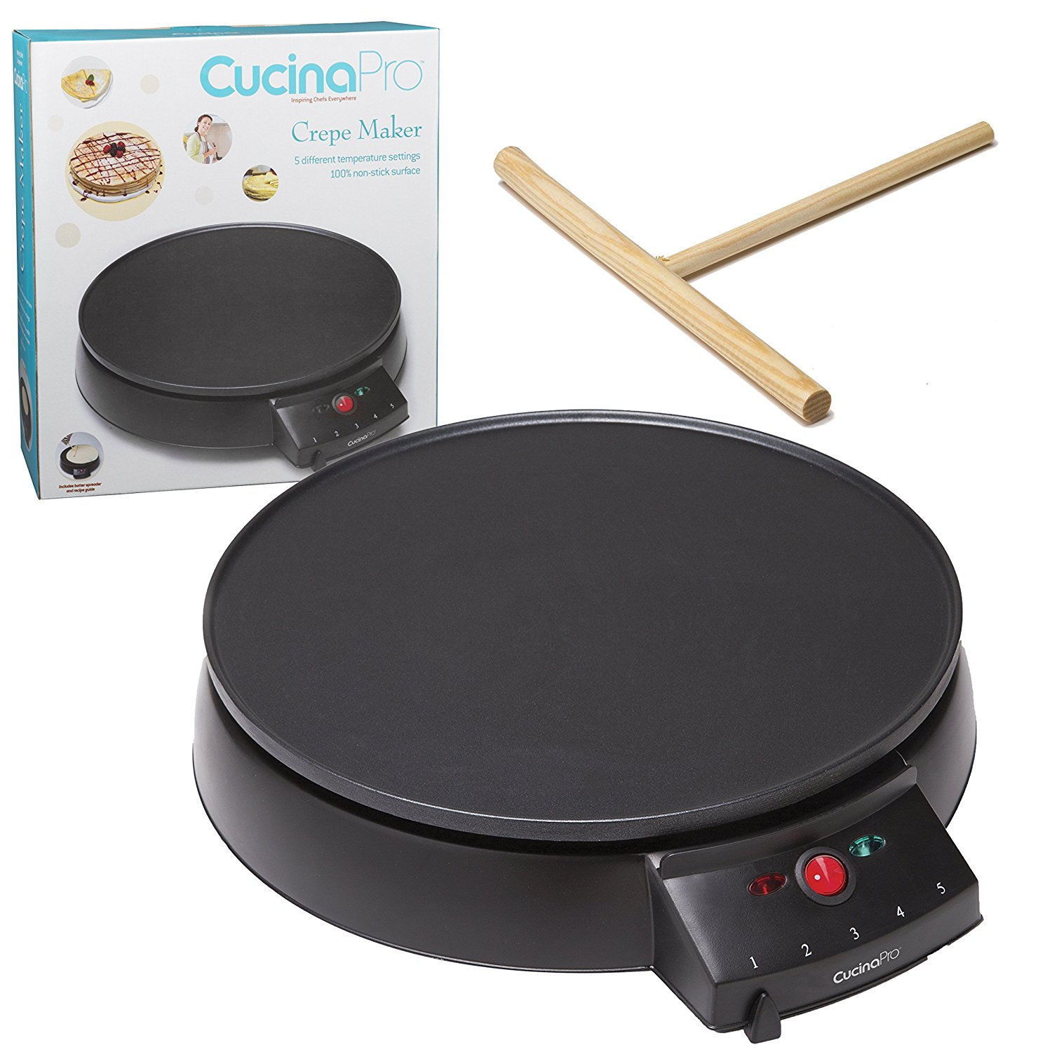 "Crepe Maker and Non-Stick 12"" Griddle- Electric Crepe Pan with Spreader and Recipe Guide"