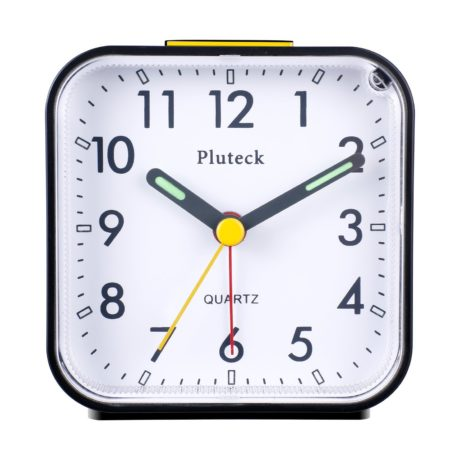 Pluteck Small Non-Ticking Black Battery Powered Analog Annoying Alarm Clocks with Snooze and Nightlight
