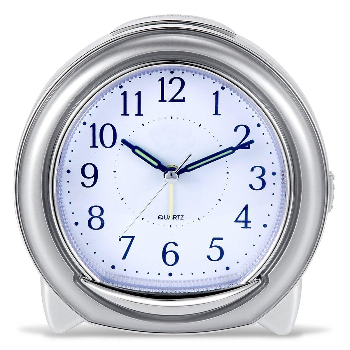 Super Silent Desk Alarm Clock, BonyTek Quartz Alarm Clock with Loud Mechanical Bell Birdsong Melody Alarm, Nightlight, Snooze, Silent Sweep Seconds, Luminous Hands, Battery Powered (Silver)