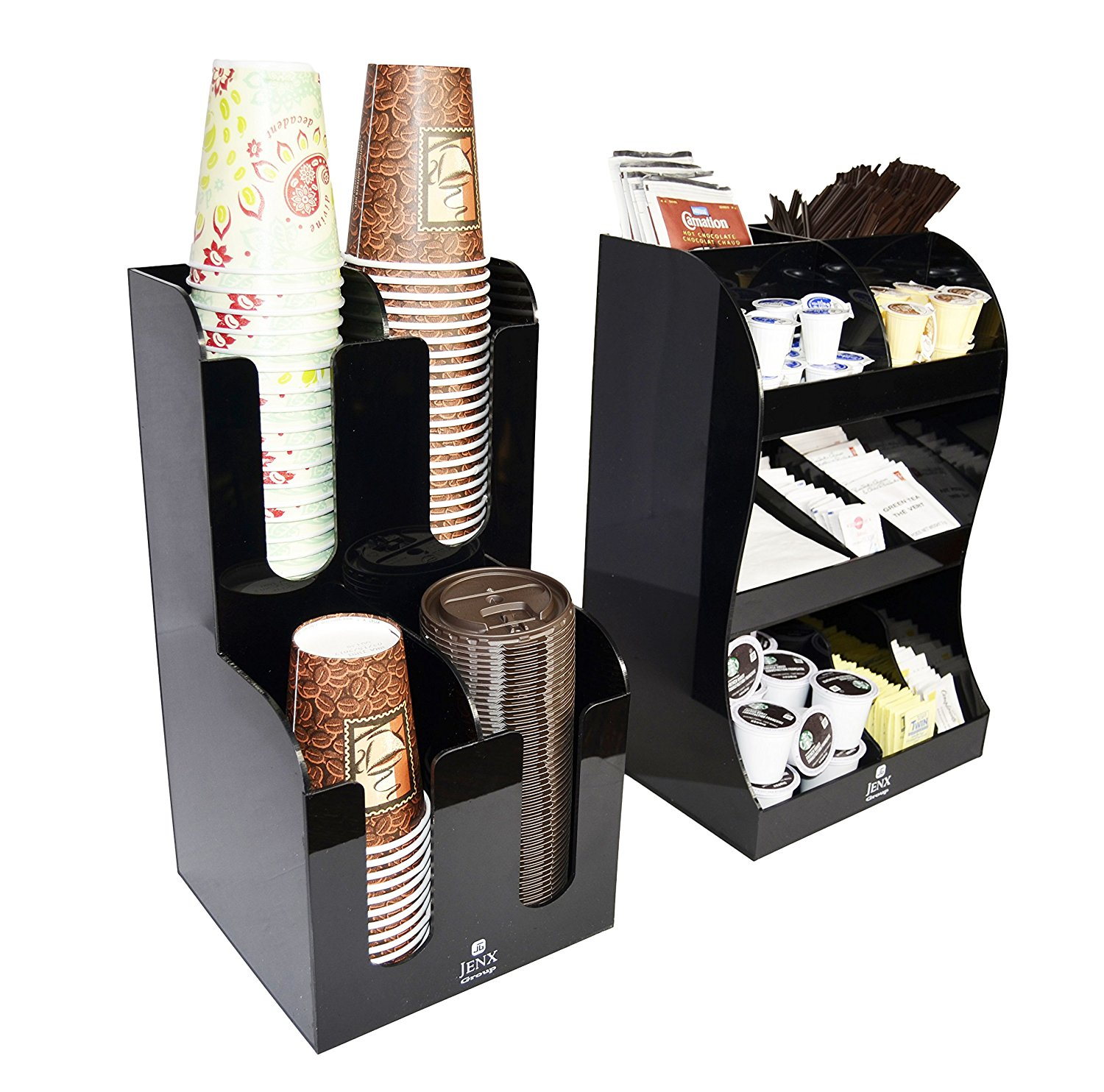 Jenx 2 Piece Combo Acrylic Coffee Condiment and Accessories Organizer for Hotel Cafeteria Restaurant Coffee Tea Shop Office Break-room
