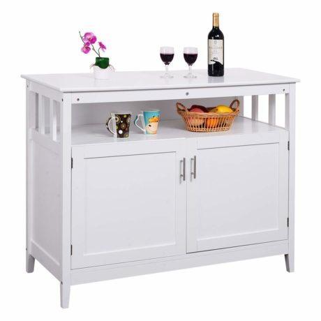 Costzon Kitchen Storage Sideboard Dining Buffet Server Cabinet Cupboard with Shelf (White
